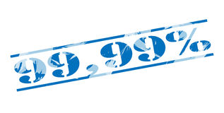 μπλε γραμματόσημο 99.99 τοις εκατό διανυσματική απεικόνιση