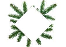 μπλε γυαλί σύνθεσης Χριστουγέννων μπιχλιμπιδιών Κενό εγγράφου, κλάδοι χριστουγεννιάτικων δέντρων, gol Στοκ φωτογραφία με δικαίωμα ελεύθερης χρήσης