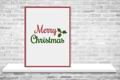 μπλε γυαλί σύνθεσης Χριστουγέννων μπιχλιμπιδιών Χαρούμενα Χριστούγεννα λέξης στο πλαίσιο φωτογραφιών Στοκ Εικόνα