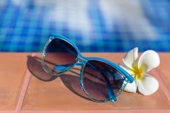 Μπλε γυαλιά ηλίου με το plumeria, λουλούδι frangipani στα σύνορα του α Στοκ εικόνες με δικαίωμα ελεύθερης χρήσης