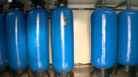 Μπλε δεξαμενές νερού οξυγόνου που χρησιμοποιούνται για την επεξεργασία καθαρισμού νερού φιλμ μικρού μήκους