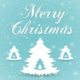 Μπλε διάνυσμα ευχετήριων καρτών Χαρούμενα Χριστούγεννας Στοκ Εικόνες