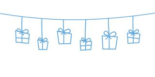 Μπλε διακοσμήσεις Χριστουγέννων που κρεμούν το άσπρο υπόβαθρο απεικόνιση αποθεμάτων