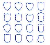 Μπλε διακριτικών πρότυπα περιλήψεων μπαλωμάτων διανυσματικά Στρατιωτικού ή εραλδικού ασπίδων και καλύψεων των όπλων κενό εικονιδί ελεύθερη απεικόνιση δικαιώματος