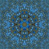 Μπλε διακόσμηση με το καφετί κυκλικό σχέδιο διανυσματική απεικόνιση