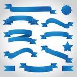 Μπλε διανυσματικές κορδέλλες καθορισμένες Στοκ Φωτογραφίες
