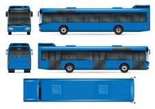 Μπλε διανυσματικό πρότυπο λεωφορείων απεικόνιση αποθεμάτων