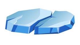 Μπλε διαφανείς ανώμαλες πάγου διανυσματικές απεικονίσεις κινούμενων σχεδίων παγετώνων απομονωμένες κομμάτι Στοκ εικόνα με δικαίωμα ελεύθερης χρήσης