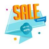 Μπλε διπλωμένη κορδέλλα Aqua με την τρισδιάστατα λέξη πώλησης και το σχέδιο προτύπων εμβλημάτων πώλησης 40% Μεγάλη ειδική προσφορ απεικόνιση αποθεμάτων