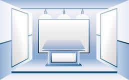 Μπλε δωμάτιο με τις κενές επιχειρησιακές στάσεις Στοκ φωτογραφίες με δικαίωμα ελεύθερης χρήσης