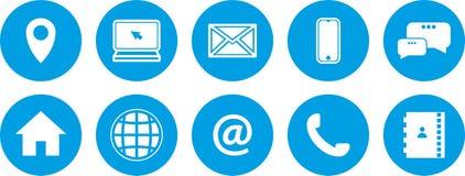 Μπλε εικονίδια καθορισμένα μπλε κουμπιά καθορισμένα νέα εικονίδια επικοινωνίας ελεύθερη απεικόνιση δικαιώματος