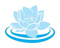 Μπλε εικονίδιο λωτού λουλουδιών κρίνων νερού λωτού Απεικόνιση αποθεμάτων