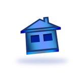 μπλε εικονίδιο σπιτιών Στοκ Εικόνα