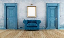 Μπλε εκλεκτής ποιότητας δωμάτιο Στοκ φωτογραφία με δικαίωμα ελεύθερης χρήσης