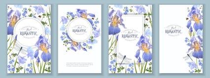 Μπλε εμβλήματα λουλουδιών καθορισμένα Στοκ Εικόνα