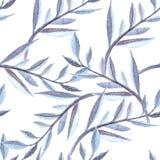 Μπλε εξωτικό άνευ ραφής σχέδιο watercolor κλάδων Στοκ εικόνα με δικαίωμα ελεύθερης χρήσης