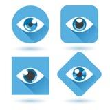 Μπλε επίπεδα εικονίδια ματιών καθορισμένα Διανυσματική απεικόνιση