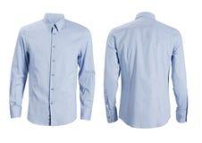 Μπλε επίσημο πουκάμισο με το κουμπί κάτω από το περιλαίμιο που απομονώνεται στο λευκό στοκ φωτογραφία