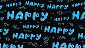Μπλε επιγραφές ευτυχείς στο Μαύρο διανυσματική απεικόνιση