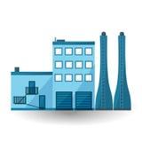 ΜΠΛΕ εργοστάσιο, επίπεδες εγκαταστάσεις βιομηχανίας απεικόνισης, διανυσματική απεικόνιση
