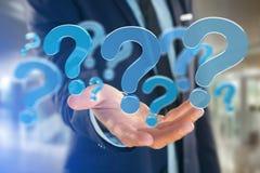 Μπλε ερωτηματικό που επιδεικνύεται σε μια φουτουριστική διεπαφή - τρισδιάστατο rend Στοκ Εικόνες