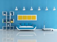 μπλε εσωτερικός σύγχρονος Στοκ Εικόνες