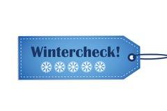Μπλε ετικέτα χειμερινού ελέγχου με snowflakes στο άσπρο υπόβαθρο ελεύθερη απεικόνιση δικαιώματος