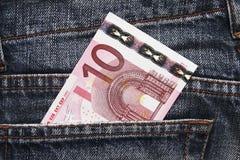 μπλε ευρο- τσέπη χρημάτων τζιν στοκ φωτογραφίες με δικαίωμα ελεύθερης χρήσης
