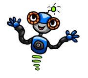 Μπλε ευτυχές ρομπότ Στοκ εικόνες με δικαίωμα ελεύθερης χρήσης