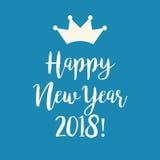 Μπλε ευχετήρια κάρτα καλής χρονιάς 2018 με μια κορώνα Στοκ Φωτογραφίες