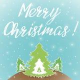 Μπλε ευχετήρια κάρτα Χαρούμενα Χριστούγεννας Στοκ φωτογραφία με δικαίωμα ελεύθερης χρήσης