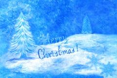 Μπλε ευχετήρια κάρτα Χριστουγέννων Στοκ εικόνα με δικαίωμα ελεύθερης χρήσης