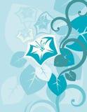 Μπλε ζωηρόχρωμο αφηρημένο υπόβαθρο λουλουδιών και γραμμών μεγάλο ελεύθερη απεικόνιση δικαιώματος