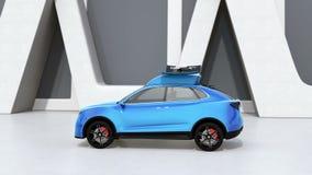 Μπλε ηλεκτρικός απελευθερωμένος SUV κηφήνας για την ψυχαγωγία ελεύθερου χρόνου διανυσματική απεικόνιση