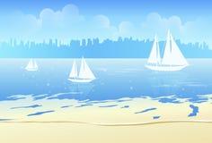 μπλε θάλασσα βαρκών Απεικόνιση αποθεμάτων