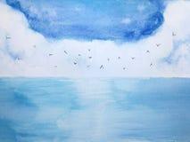 Μπλε θάλασσα και ουρανός τοπίων Watercolor με τα πουλιά διανυσματική απεικόνιση