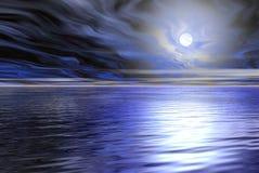 μπλε θάλασσα φεγγαριών scape Στοκ Φωτογραφία
