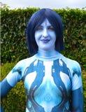Μπλε θηλυκό ειδώλων cosplay MCM ΚΩΜΙΚΌ CON r στοκ εικόνες με δικαίωμα ελεύθερης χρήσης