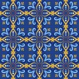 Μπλε ιταλικά υπόβαθρα σχεδίων κεραμικών κεραμιδιών άνευ ραφής Παραδοσιακά περίκομψα talavera διακοσμητικά azulejos κεραμιδιών χρώ διανυσματική απεικόνιση