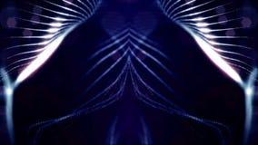 Μπλε ιώδες loopable αφηρημένο υπόβαθρο μορίων με το βάθος του τομέα, τα σπινθηρίσματα πυράκτωσης των φω'των και τα ψηφιακά στοιχε απόθεμα βίντεο