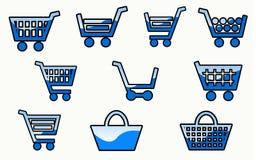 10 μπλε κάρρο αγορών απεικόνιση αποθεμάτων