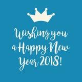 Μπλε κάρτα καλής χρονιάς 2018 με μια κορώνα Στοκ Εικόνες