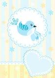 μπλε κάρτα πουλιών μωρών άφι& απεικόνιση αποθεμάτων