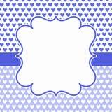 Μπλε κάρτα πρόσκλησης πλαισίων καρδιών Στοκ Εικόνες