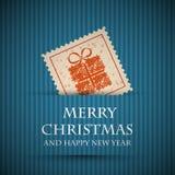 Μπλε κάρτα Χριστουγέννων γραμματοσήμων Στοκ Εικόνες