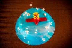 Μπλε κέικ γενεθλίων παιδιών Στοκ Φωτογραφίες