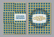 Μπλε κίτρινο πρότυπο σχεδίου κάλυψης βιβλίων χρώματος σχεδίου με τα οπτικά στοιχεία παραίσθησης κινήσεων Στοκ εικόνες με δικαίωμα ελεύθερης χρήσης