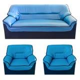 μπλε καθορισμένος καναπές δέρματος Στοκ Εικόνα