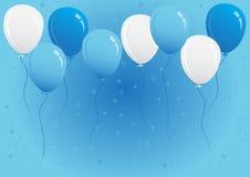 Μπλε και άσπρη διανυσματική απεικόνιση μπαλονιών κόμματος Στοκ Φωτογραφία