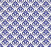 Μπλε και άσπρο damask σχέδιο Στοκ Εικόνα
